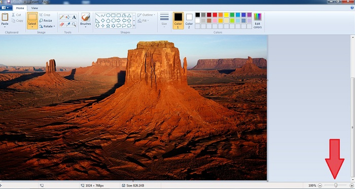 Zoom in/out در نرم افزار Paint